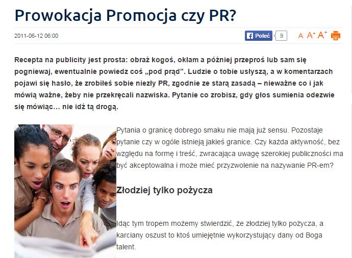 Prowokacja, Promocja czy PR?